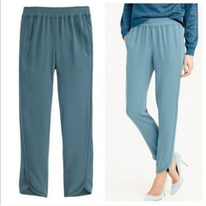 J. Crew Reese Blue Green Pull-On Trousers Pants 4